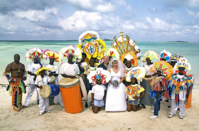 bahamas, abaco, green turtle cay, junkanoo wedding