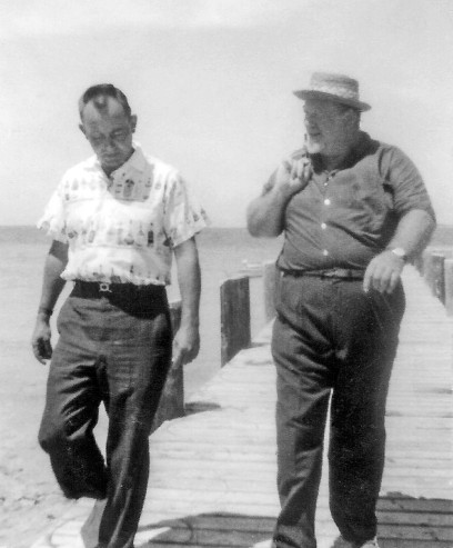 Burl Ives with Unknown Man in Abaco