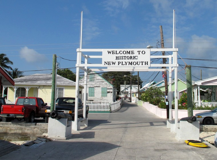 Public dock in Green Turtle Cay, Abaco, Bahamas.