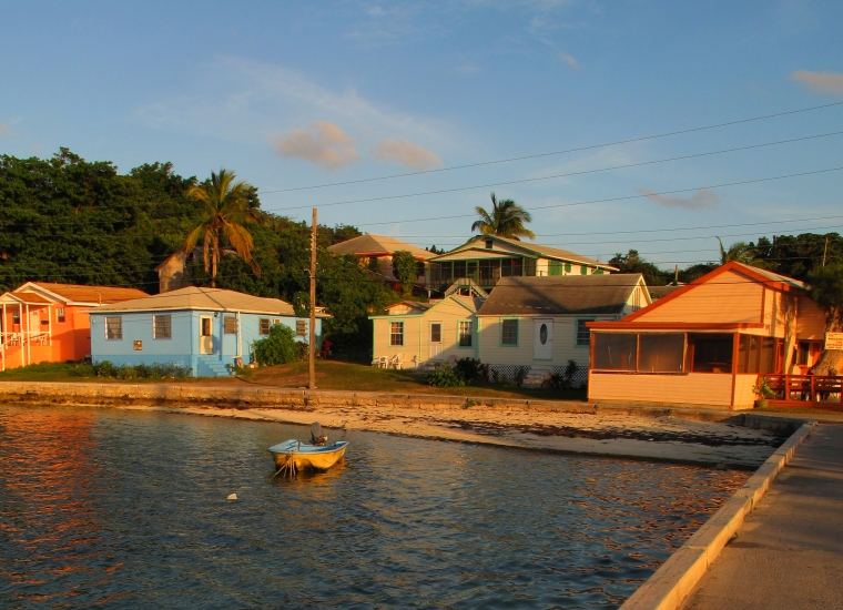 Houses along Settlement Creek - Green Turtle Cay, Abaco, Bahamas