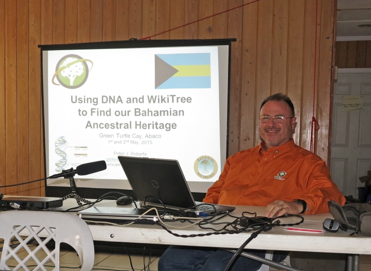 Dr. Peter Roberts, of the Bahamas DNA Project, at the Island Roots Heritage Festival, Abaco, Bahamas.