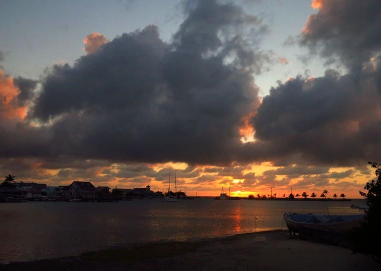 Fiery sunset over Settlement Creek, Green Turtle Cay, Bahamas. www.littlehousebytheferry.com
