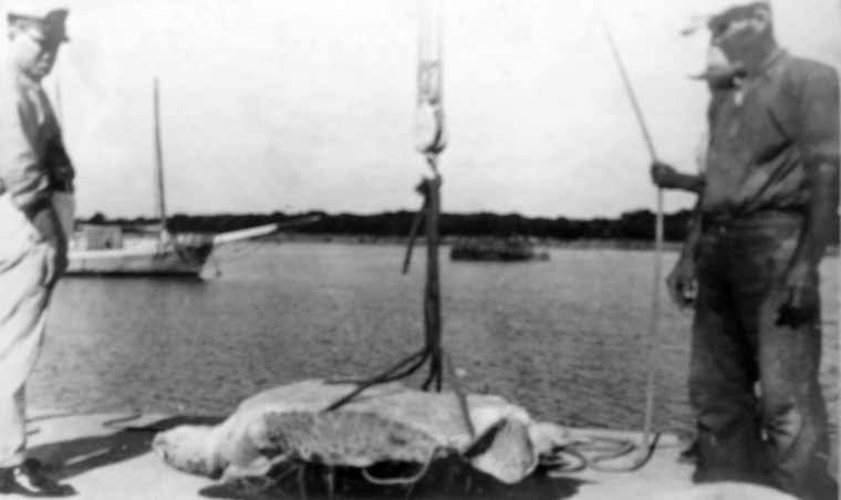 Capt Roland Roberts and Harold Lowe with Turtle