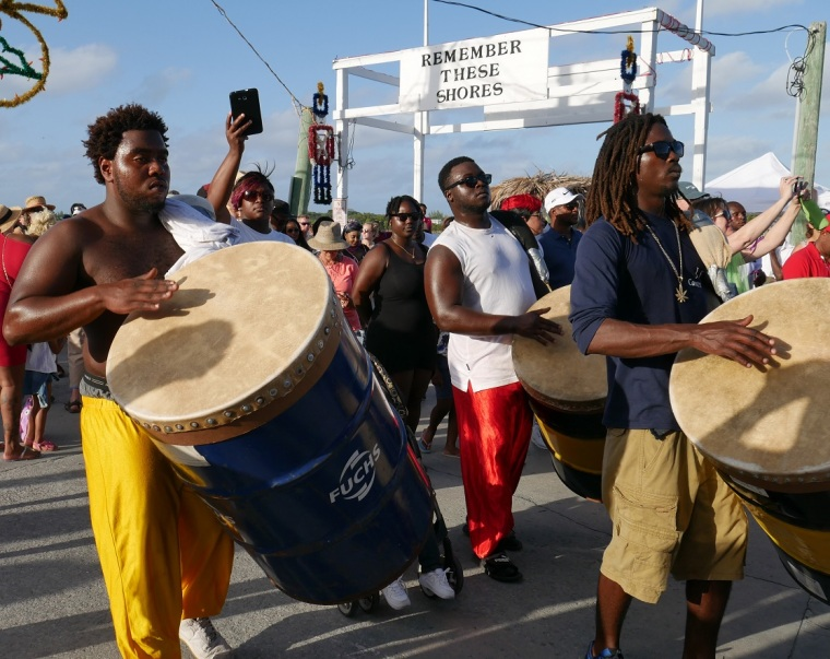 Junkanoo drummers - New Year's Day 2017 - Green Turtle Cay, Abaco, Bahamas