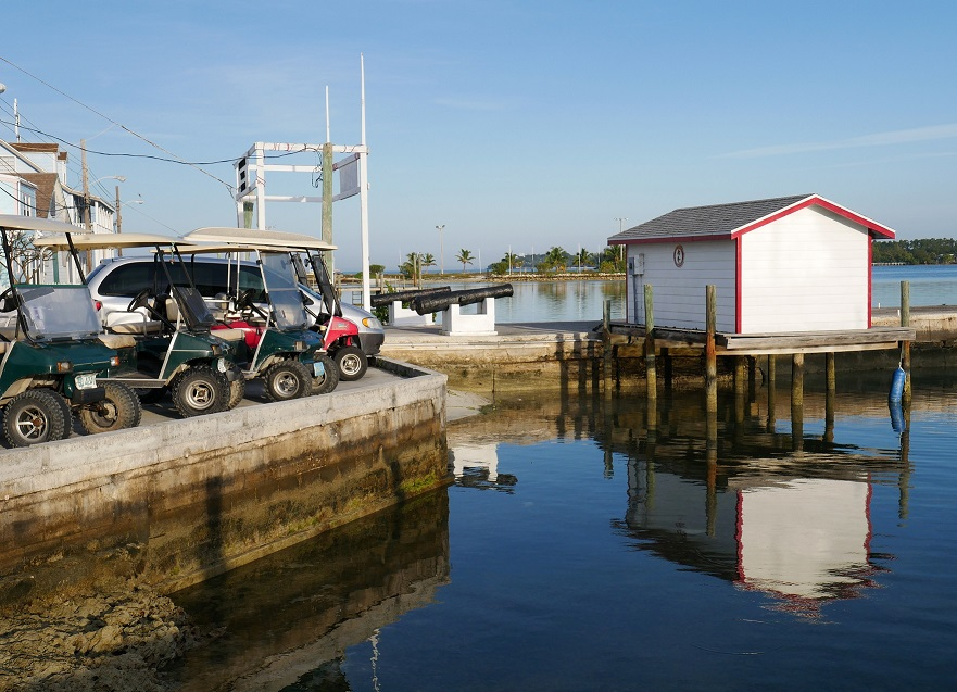 Golf carts lined up at the public dock - Green Turtle Cay, Abaco, Bahamas