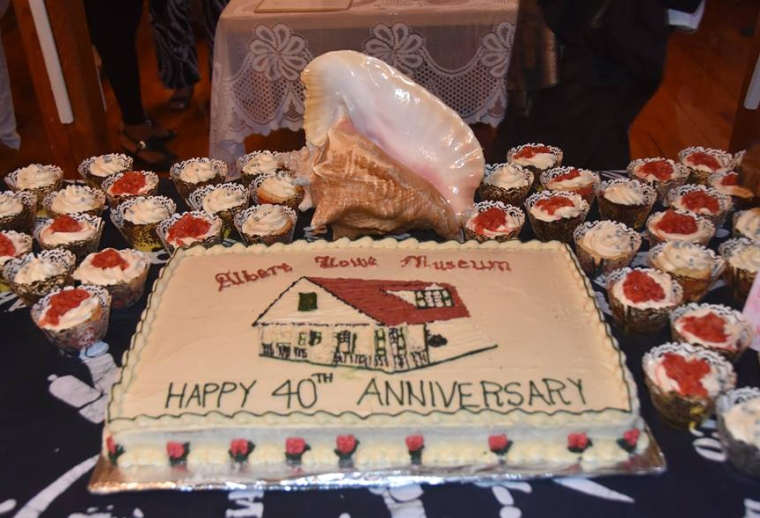 This cake, made by Melissa Albury of MoMo's Suga' Shack, is an exact replica of the cake served at the Museum's opening in 1976