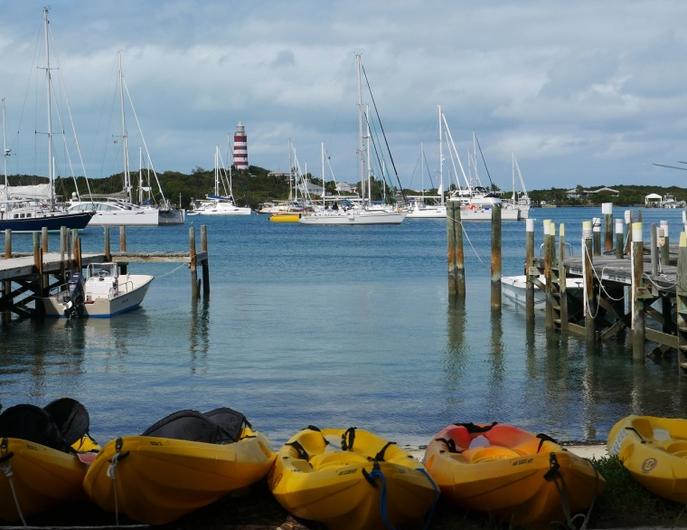 Kayaks on the waterfront, Hope Town, Abaco, Bahamas