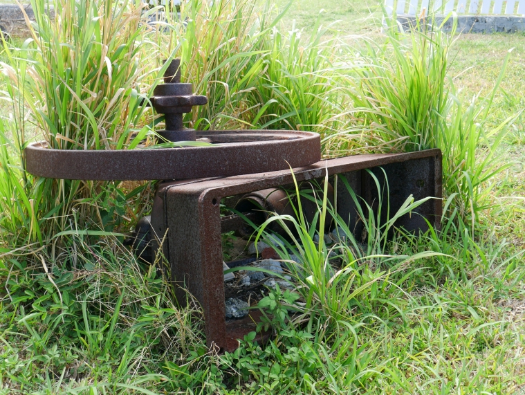 The rusted remnants of a sugarcane mill, Green Turtle Cay, Abaco, Bahamas.